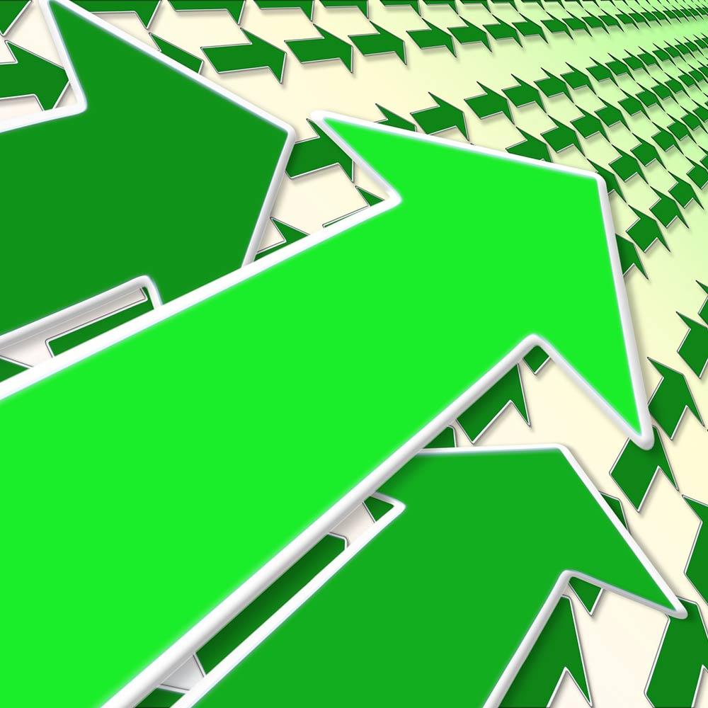 frecce verdi a simbolo delle novita